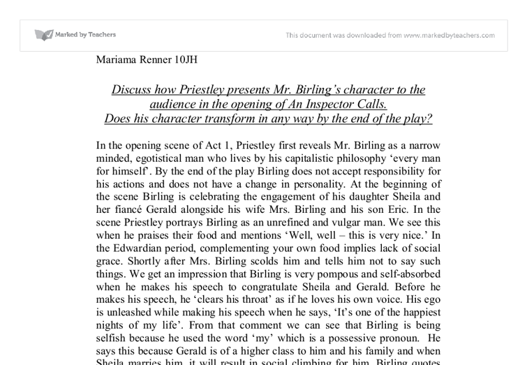 How does Priestley present the character of Mr. Birling in the opening of the play?