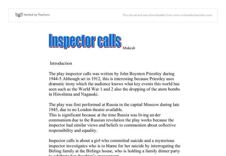 an inspector call essay introduction