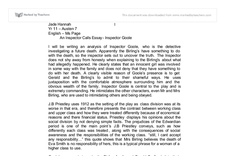 analysis of inspector goole english literature essay Home / english / exploring inspector goole in an inspector calls  exploring inspector goole in an inspector calls essay add:.