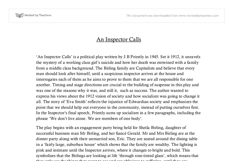 an inspector calls drama essay An inspector calls is a play written by english dramatist j b priestley the play is a three-act drama, which takes place on a single night in april 1912.