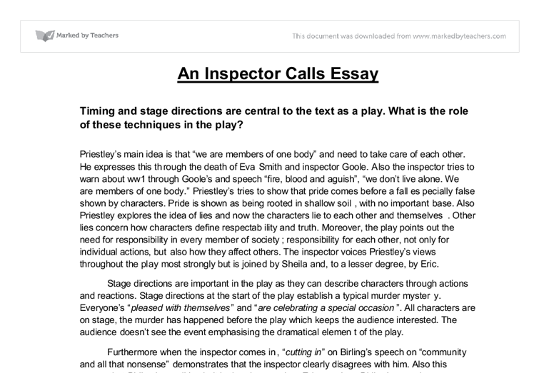 an inspector call essay questions An inspector calls essay question posted on 29092018 by admin this play was written in 1945 and since then – an inspector calls is a an inspector calls essay question about how a person's actions can be responsible for someone's life.