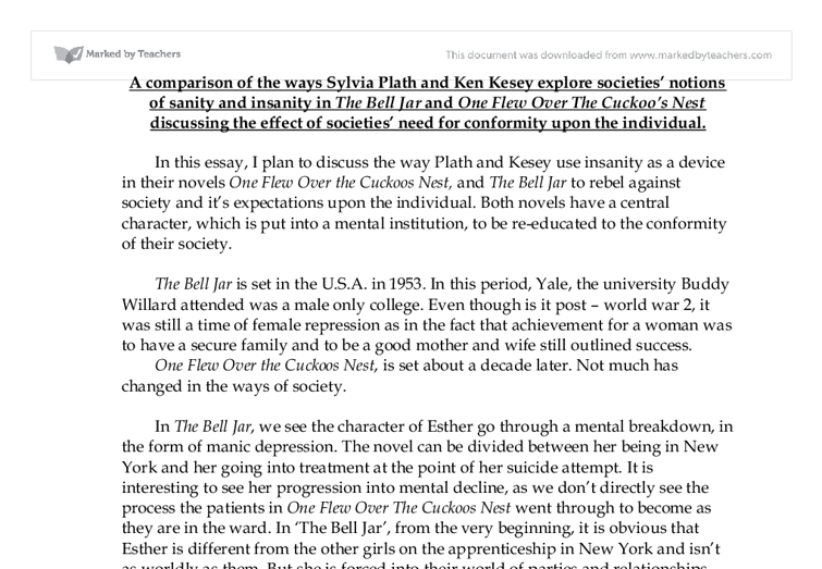 the bell jar and one flew over the cuckoo s nest gcse english  document image preview