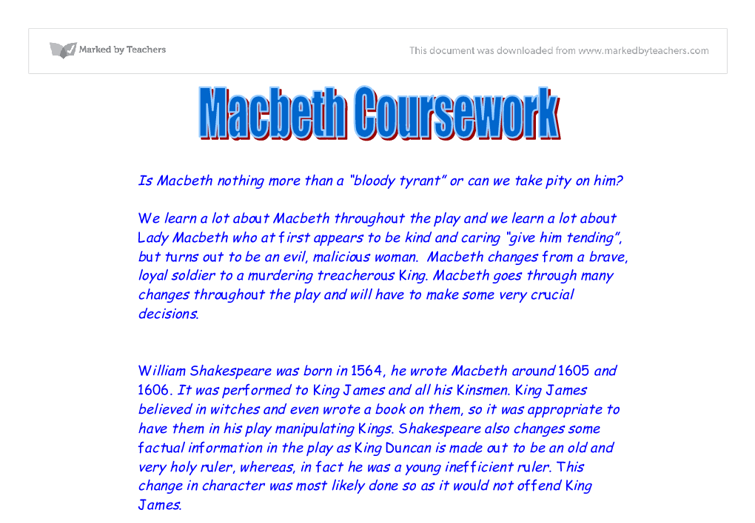 pity macbeth essay I believe the latter is the more likely reaction, and that the reader sees macbeth as a bad guy, feeling little or no pity for him aristotle also insists that the main character of a tragedy must have a tragic flaw.