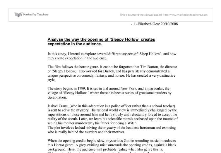 sleepy hollow essay questions The legend of sleepy hollow both stories leave us in suspense although burton answers the questions if you are the original writer of this essay and no.