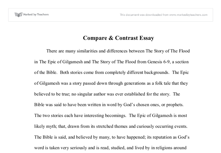 similarities between the epic of gilgamesh and the story of noah s document image preview