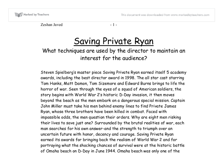 saving private essay Saving private ryan many people in this world have power and influence yet, there are few who have the traits needed to be an incredible leader.