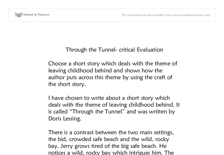 through the tunnel doris lessing thesis Let us help with your master thesis  through the tunnel essay  doris lessing through the science of poems or ms.