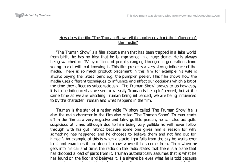 truman show religion essay Do blog entry 13: describe a scene or incident in the truman show that you think particularly important for an understanding of it.