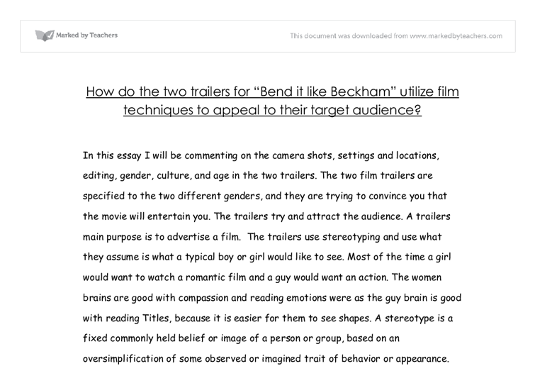 bend it like beckham gcse english marked by teachers com document image preview