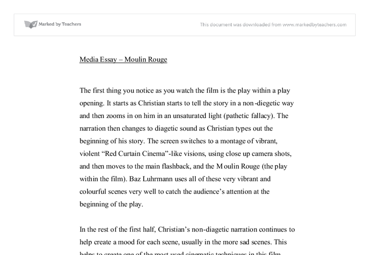 moulin rouge essay Name: jolanta jasiulionyte unit title: story-telling word count: 1751 essay question: what the structure of the film contributes to the film moulin rouge.