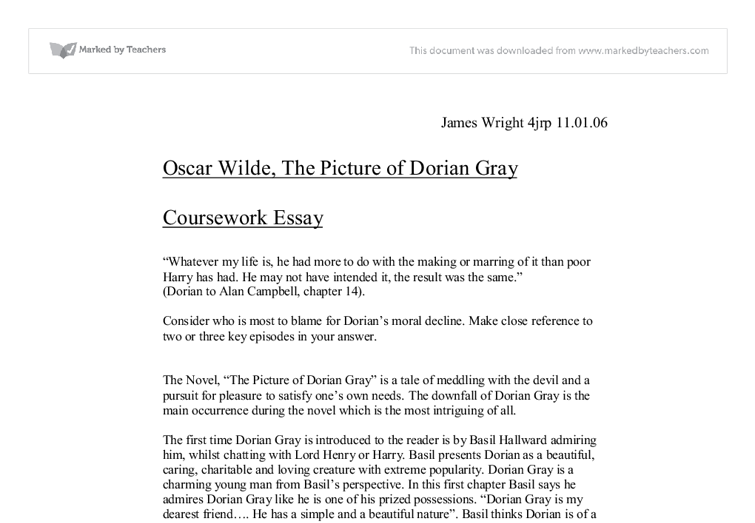 dorian gray essays Essay questions dorian gray creative writing ...