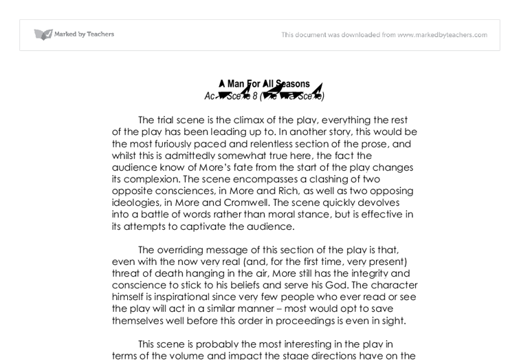 man for all seasons essays A man for all seasons, a play written by robert bolt, retells the  when writing an  essay about a literary work, students would be wise to.