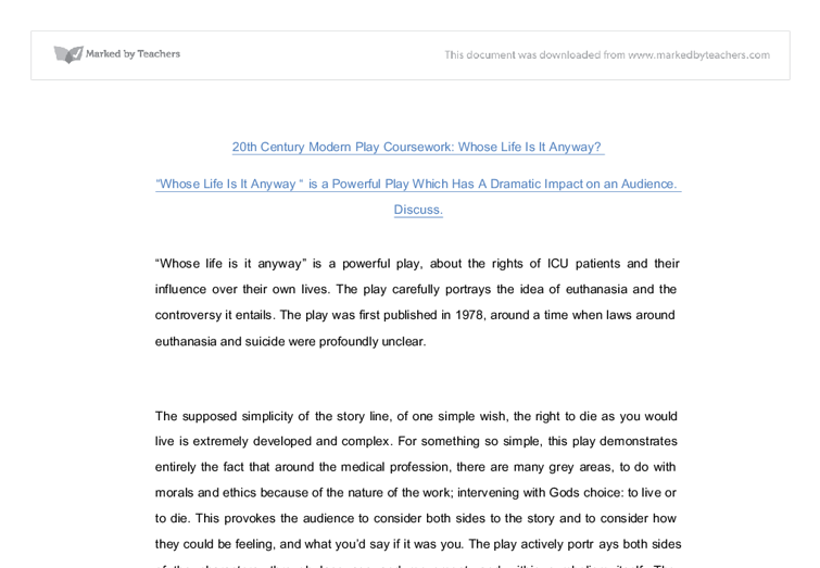 whose life is it anyway play essay Whose life is it anyway passive euthanasia philosophy essay print which is taken for the sake of the person whose life it whose life is it anyway.
