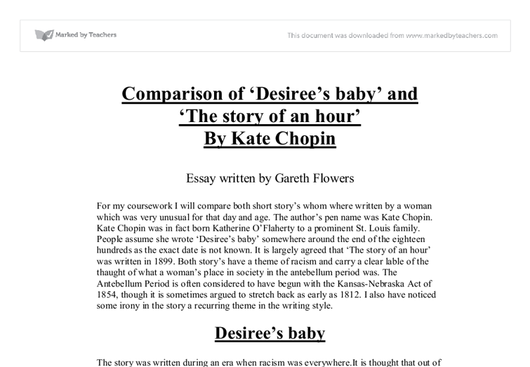 analysis of kate chopin s desiree s baby Kate chopin's short stories summary and analysis of désirée's baby  when  the baby is three months old, désirée is suddenly disturbed by.
