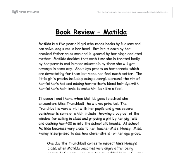 Marked book report