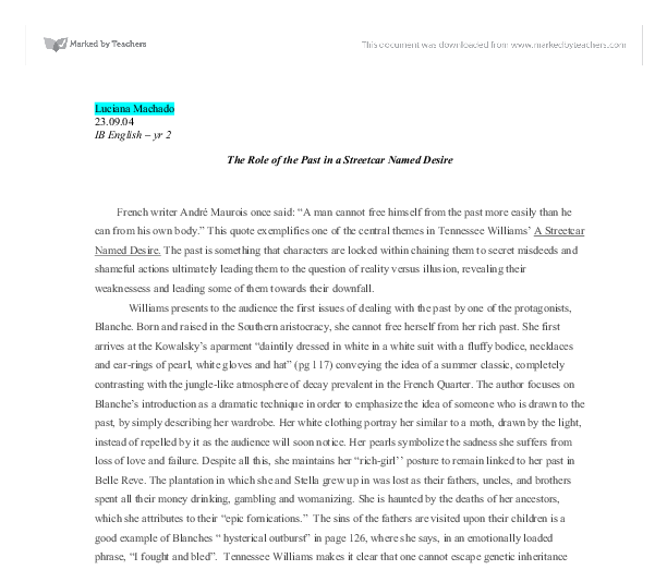 the role of the past in a streetcar d desire gcse english  document image preview