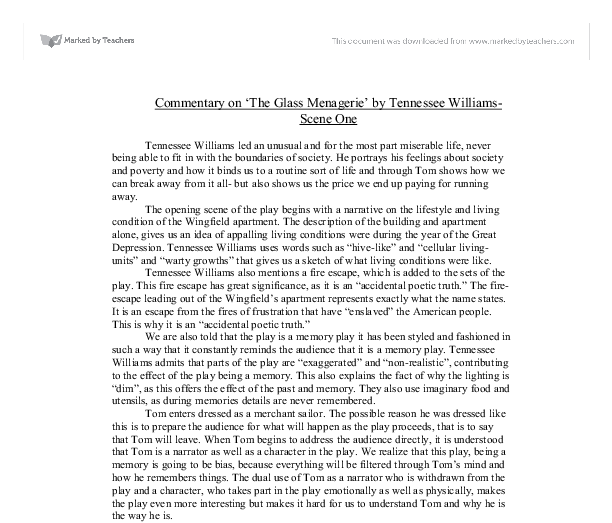 an analysis of escapism in the glass menagerie by tennessee williams The glass menagerie: theme analysis, free study guides and book notes including comprehensive chapter analysis, complete summary analysis, author biography information, character profiles, theme analysis, metaphor analysis, and top ten quotes on classic literature.