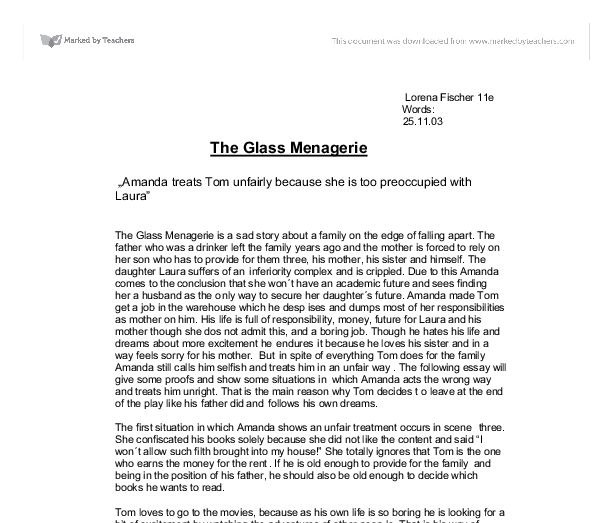 managerie essay Essays and criticism on tennessee williams' the glass menagerie - critical essays.