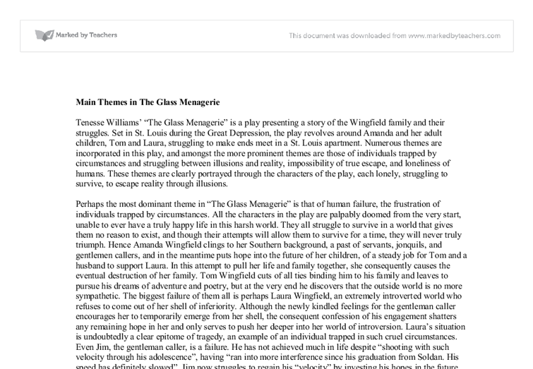 "glass menagerie thesis The glass menagerie essay literary analysis: the glass menagerie many critics believe that ""the glass menagerie"" is one of tennessee williams finest literary pieces, and that like most of his work, it was a reflection of his own life story."