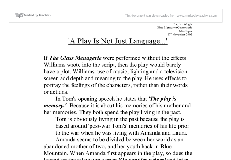 symbolism of the glass menagerie essay Symbolism of the glass menagerie in tennessee williams' play the glass menagerie, there is an abundance of symbolism that can be identified through careful analysis of the play write.