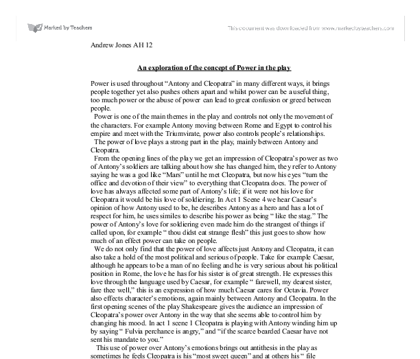 antony and cleopatra 3 essay Antony and cleopatra literature essays are academic essays for citation these  papers were  in this reunion of the triumvirate, the three leaders of rome.