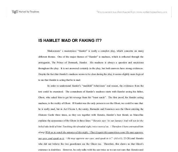 is hamlet mad or faking it gcse english marked by teachers com document image preview