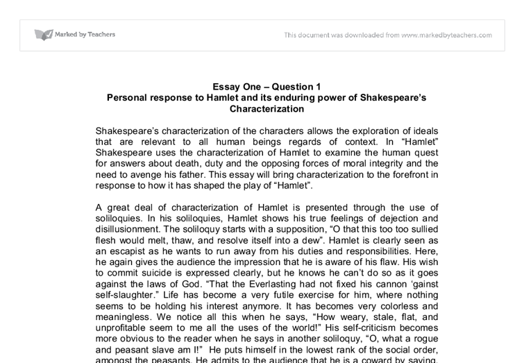 personal responce to hamlet gcse english marked by teachers com document image preview
