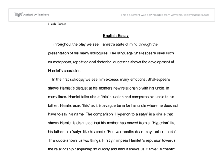 Essay Writing Examples English Hamlet Essay Topics High School Sample Apa Essay Paper also Essay On Business Ethics Hamlet Soliloquy Essay Prompts English Essay Example