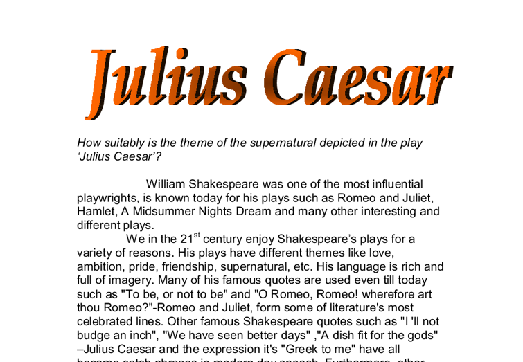 Essays julius caesar william shakespeare