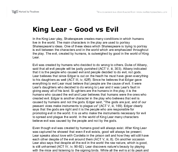 king lear good vs evil gcse english marked by teachers com document image preview
