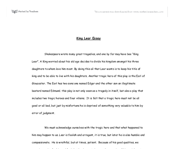 king lear essay gcse english marked by teachers com document image preview