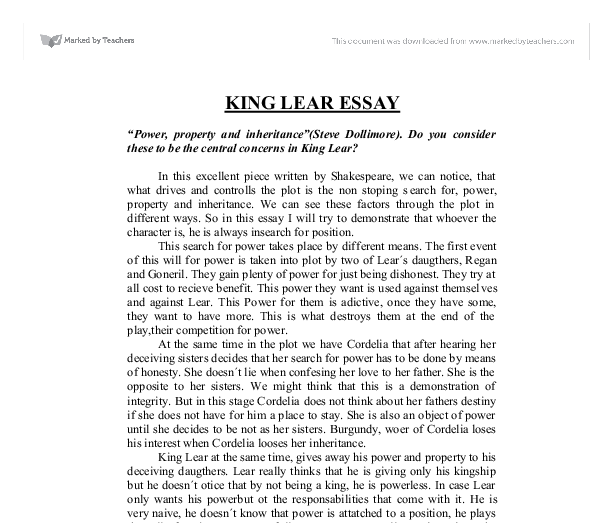 King Lear Sample Essay: Honour, Loyalty, Brutality and Viciousness