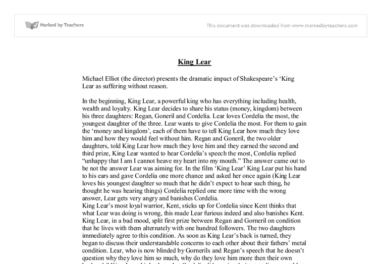 king lear coursework King lear, follows the time old tradition in which children take advantage of the love and trust of their parents in the world of action in king lear, balance and.