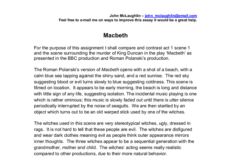 polanski version of macbeth essay Essay will explore three adaptations of shakespeare's macbeth the polanski version of the scene is fantastically captured on screen.