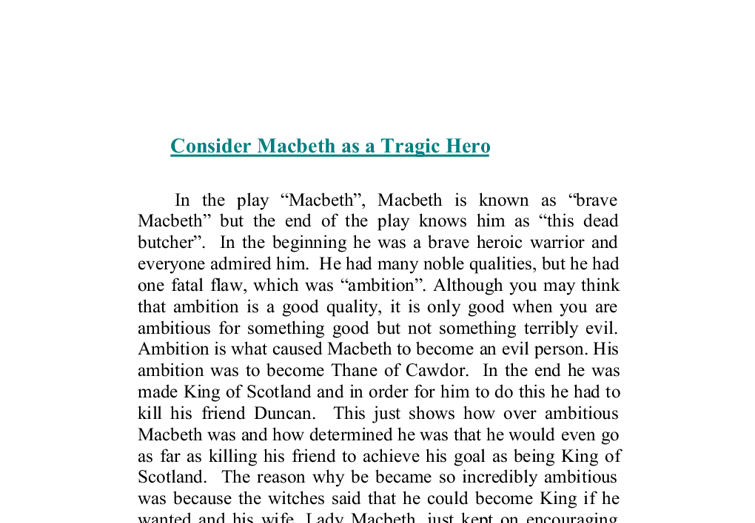 essay of macbeth as tragic hero
