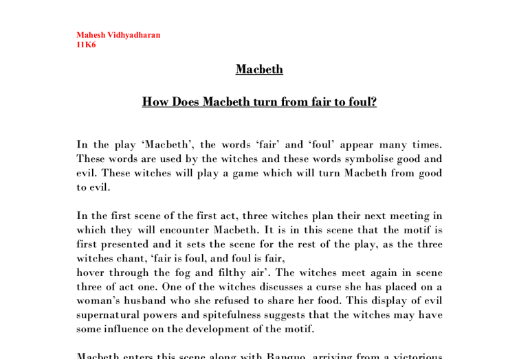 how does macbeth turn from fair to foul in the play macbeth  document image preview