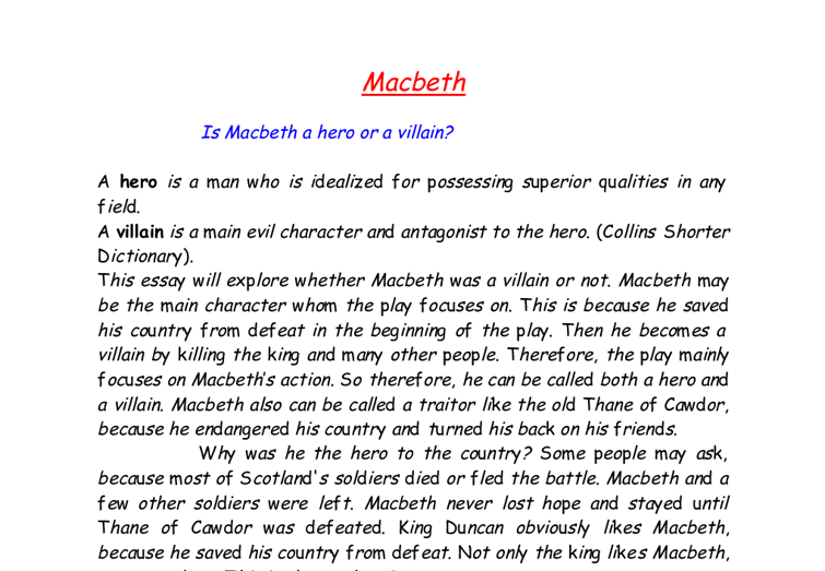the redeeming qualities in the character of macbeth
