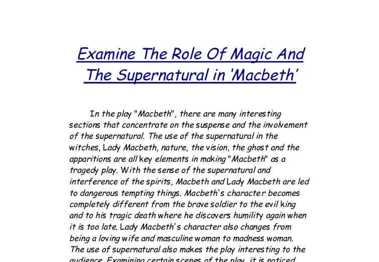 an analysis of witches as psychological projections in macbeth by shakespeare What is the plot of macbeth  what is the plot in macbeth  the witches in 'macbeth' drove the plot of the play by their predictions.