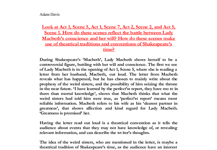 william shakespeares macbeth lady macbeth rediscovered essay Essay: the role of women in macbeth william shakespeare's, macbeth, is a play full of betrayal and deception it is a story about macbeth's desires to achieve greatness and become king.