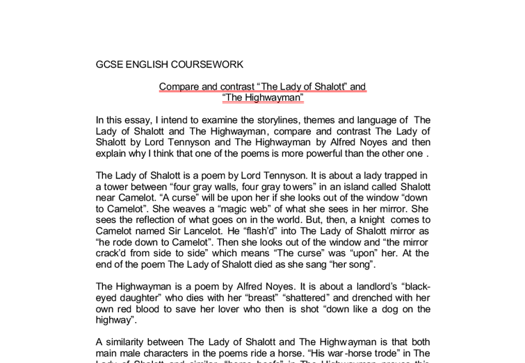 compare and contrast the lady of shalott and the highwayman in  document image preview
