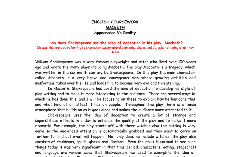 macbeth appearance vs reality gcse english marked by teachers com document image preview