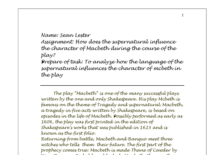 how does the supernatural influence the character of macbeth  document image preview