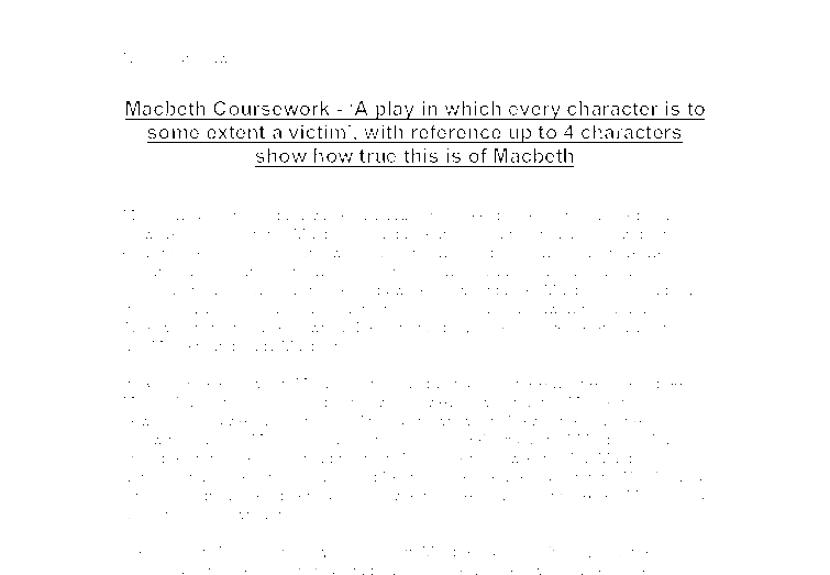 Help with macbeth coursework