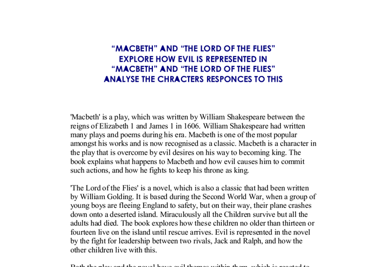 good vs evil in macbeth essays Good vs evil in macbeth the good characters in macbeth are less interesting than the evil ones everybody has an 'evil seed' planted in them.
