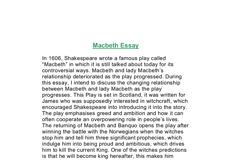 macbeth relationship essay Quotes & possible essay questions for macbeth macbeth is about various kinds of murder discuss the relationship between macbeth and lady macbeth.