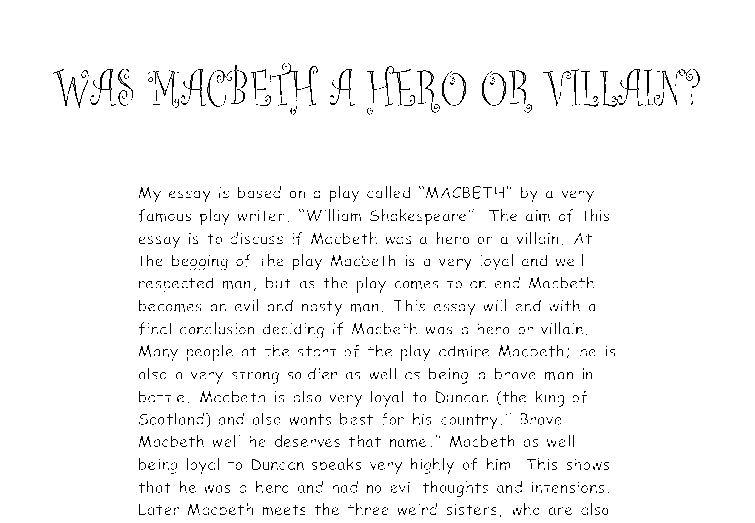 gcse english macbeth essay How does one get an essay done from the entire play the answer lies in taking key scenes, getting them into a word document and then highlighting, in yellow, the relevant short quotes that fit the need of the essay when it is done.