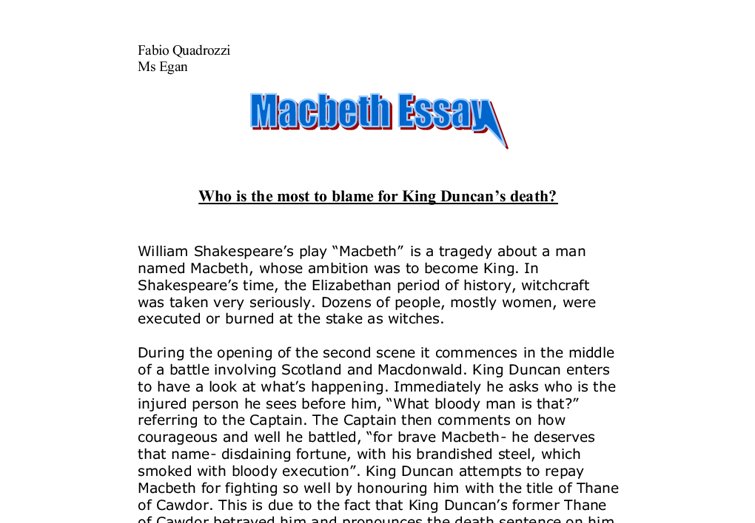 macbeth murder essay example For example, the murder of his  lady macbeth is a significant character but is not more to blame  just send your request for getting no plagiarism essay.