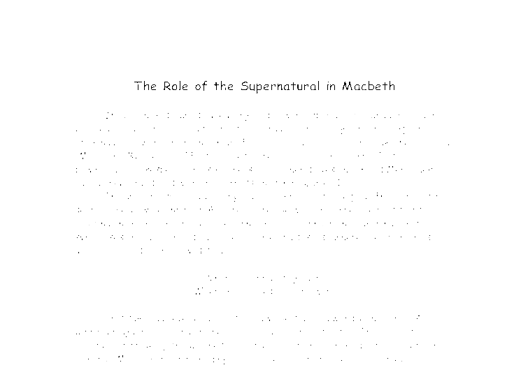 Macbeth supernatural essay