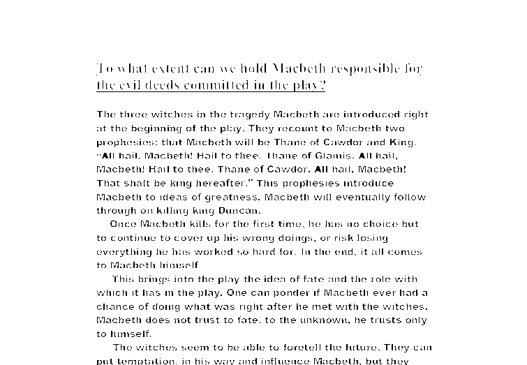 Good vs evil in Shakespeare's Macbeth Essay