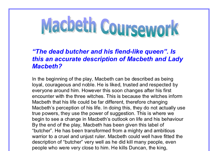 gcse english coursework macbeth